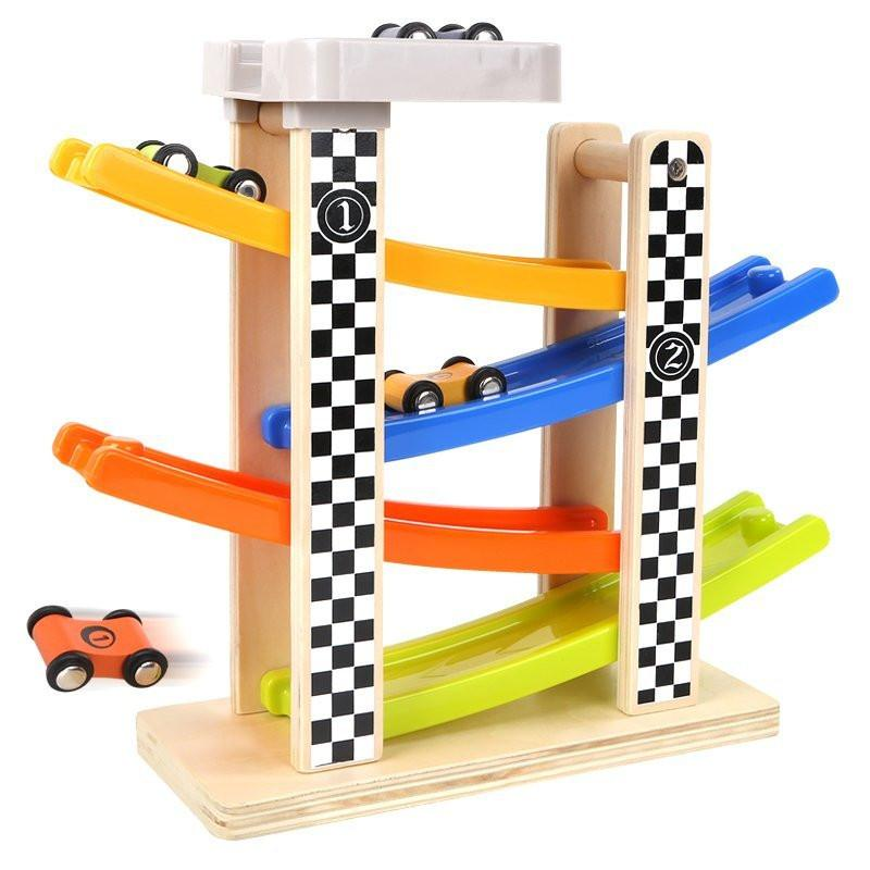 Top Bright Wooden & Plastic Racing Track With 4 Cars Included