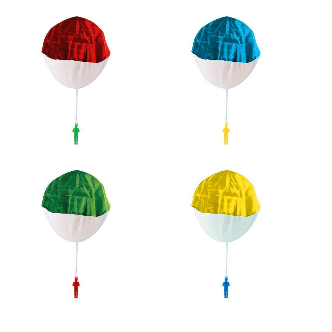 IQ Toys Set of 4 Ready to Fly Toy Parachutes,Tangle-Free Color May Vary