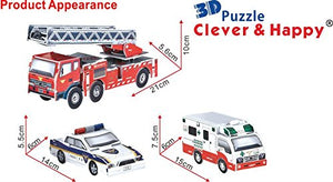 3D Puzzle, set of 3 Emergency Rescue Cars, 79 pcs