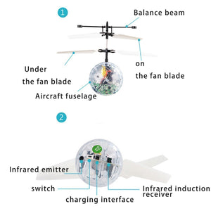 IQ Toys Colorful Lit Up RC Helicopter Flying Crystal Ball