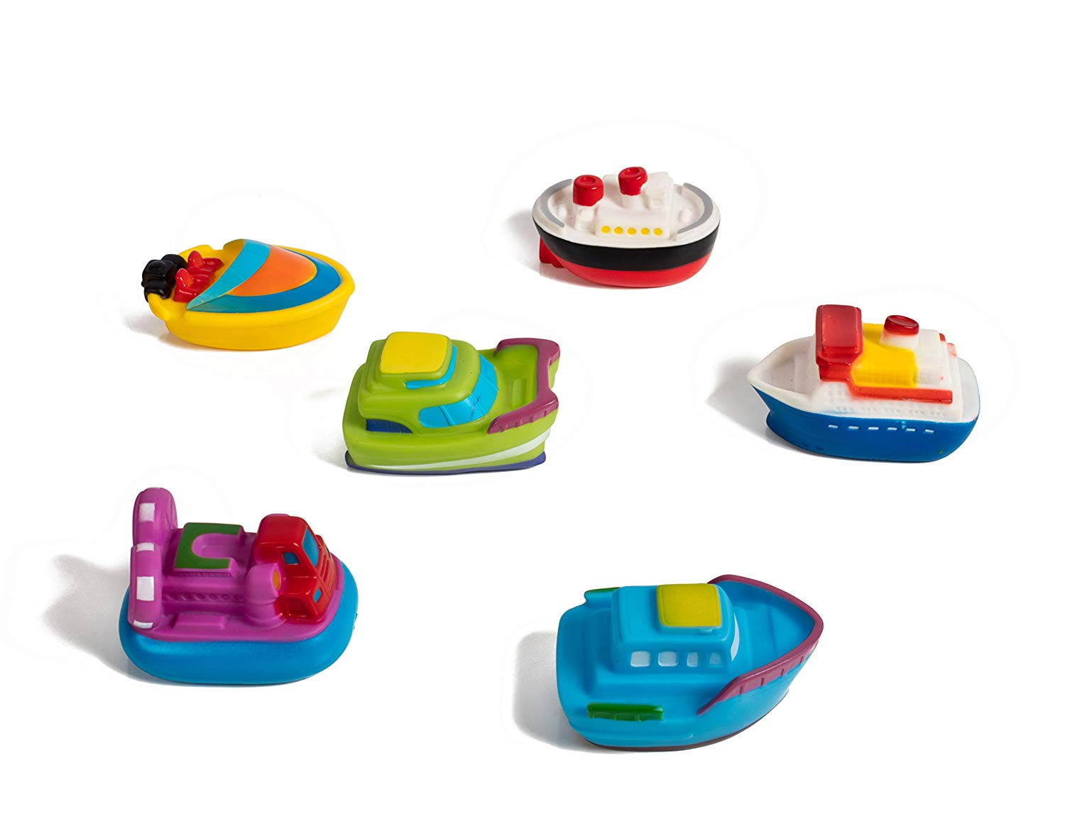 Set of 6 super soft bath toy Boats