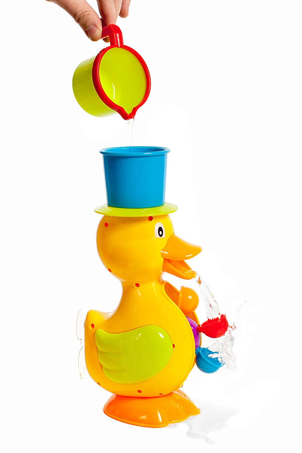 Suctioned Duck Bathtub toy with 5 cups and spinning water wheel