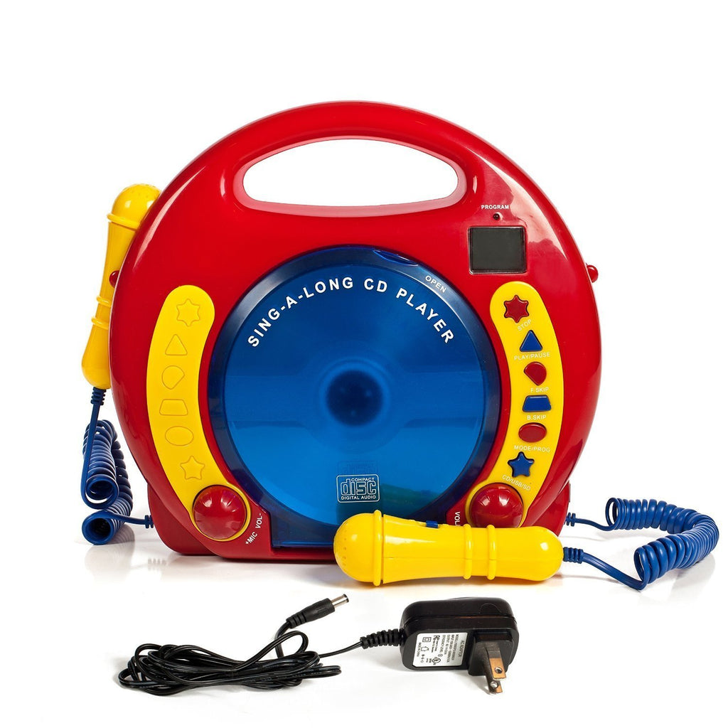Portable Sing Along CD/MP3/USB/SD player Anti skip, with 2 Microphones & AC adapter - Toys 2 Discover - 1