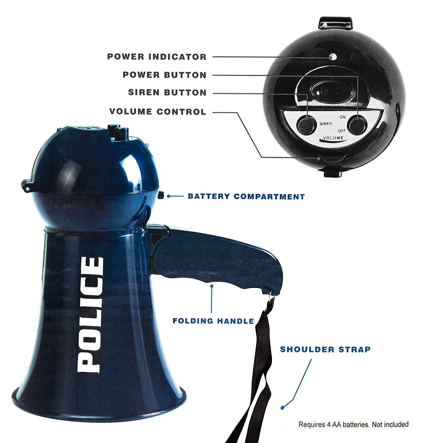 IQ Toys Pretend Play Kids Police Megaphone with Siren Sound