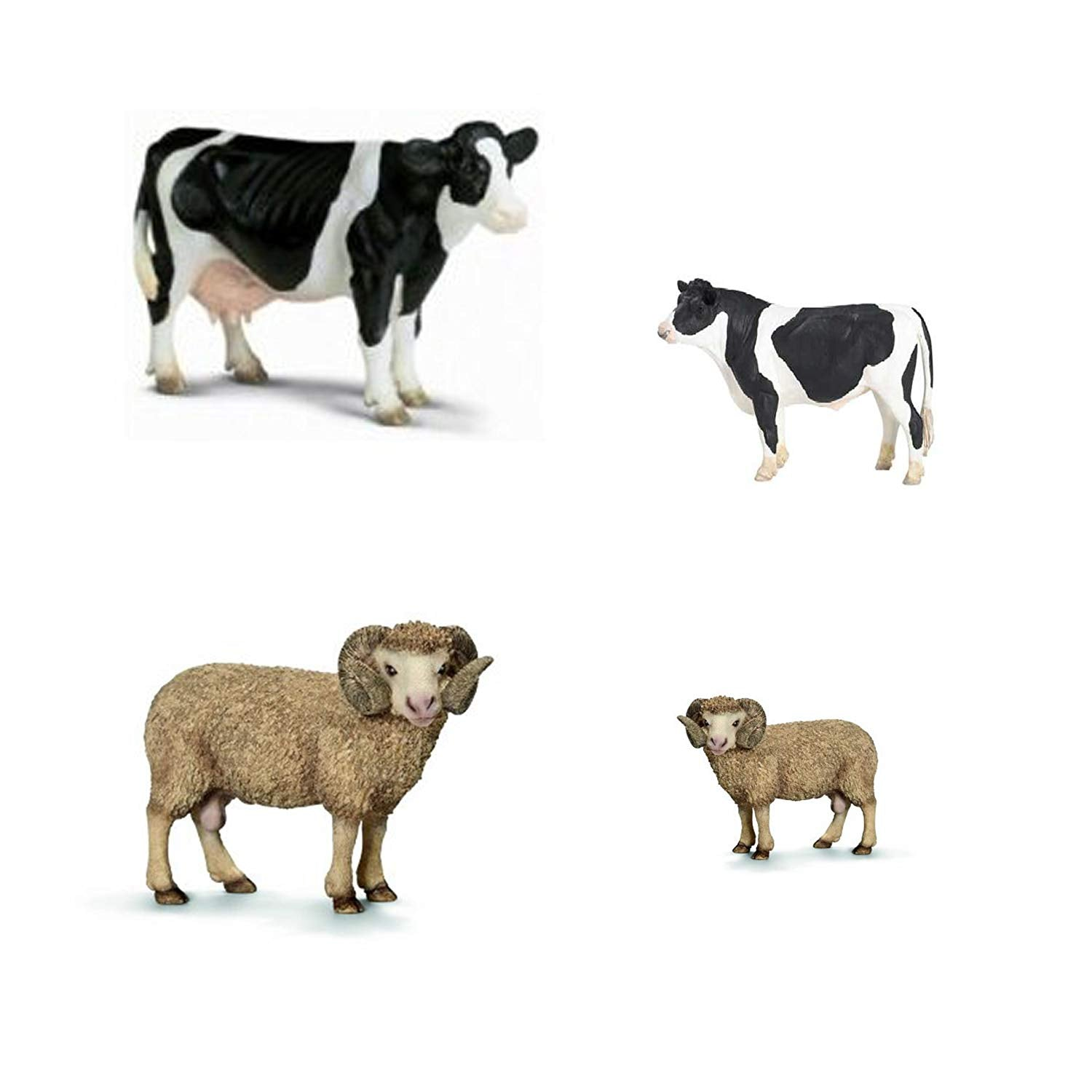 Farm set of Adult Cow & Ram AND Baby cow & baby ram