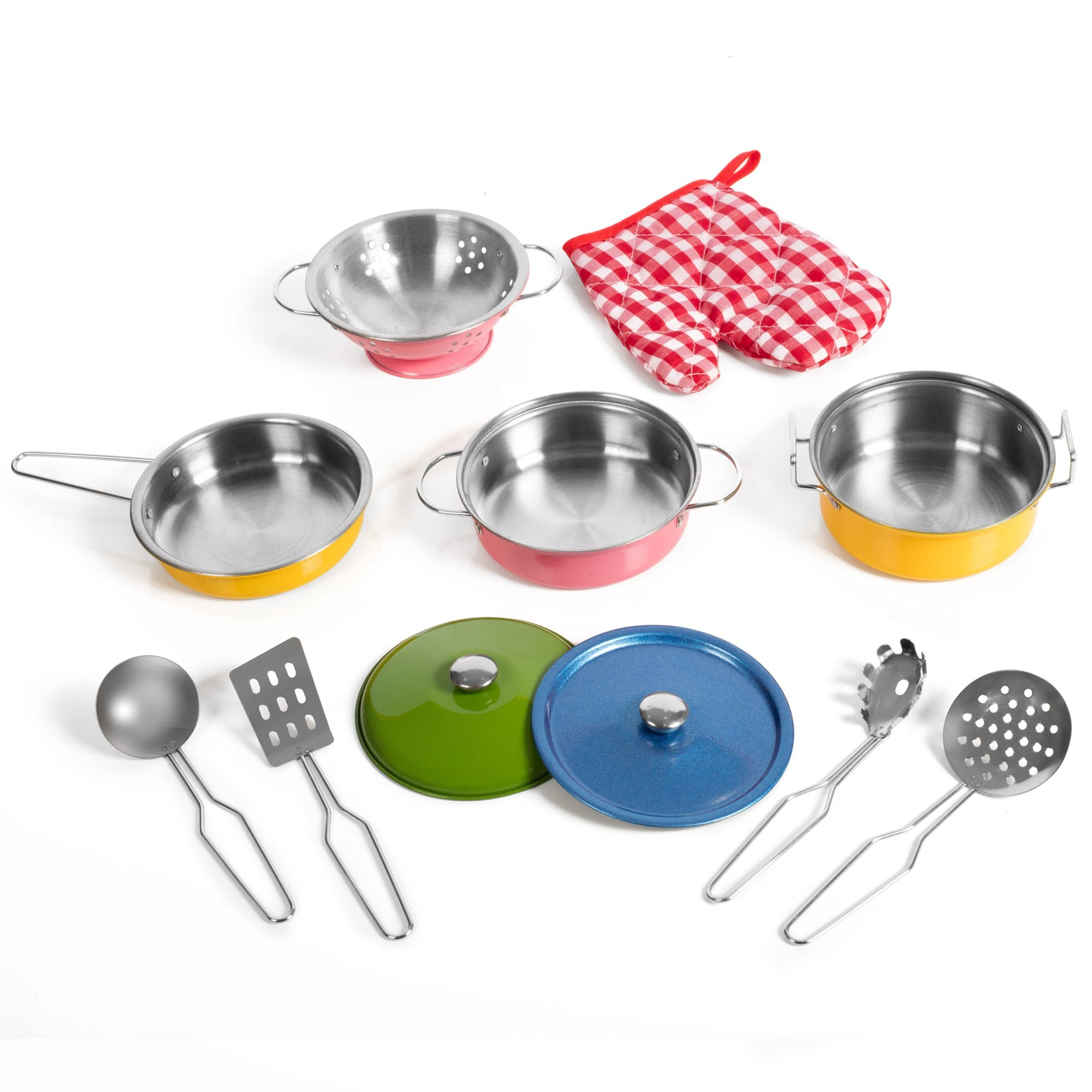 11 Piece Stainless Steel Colorful Pretend Dishes