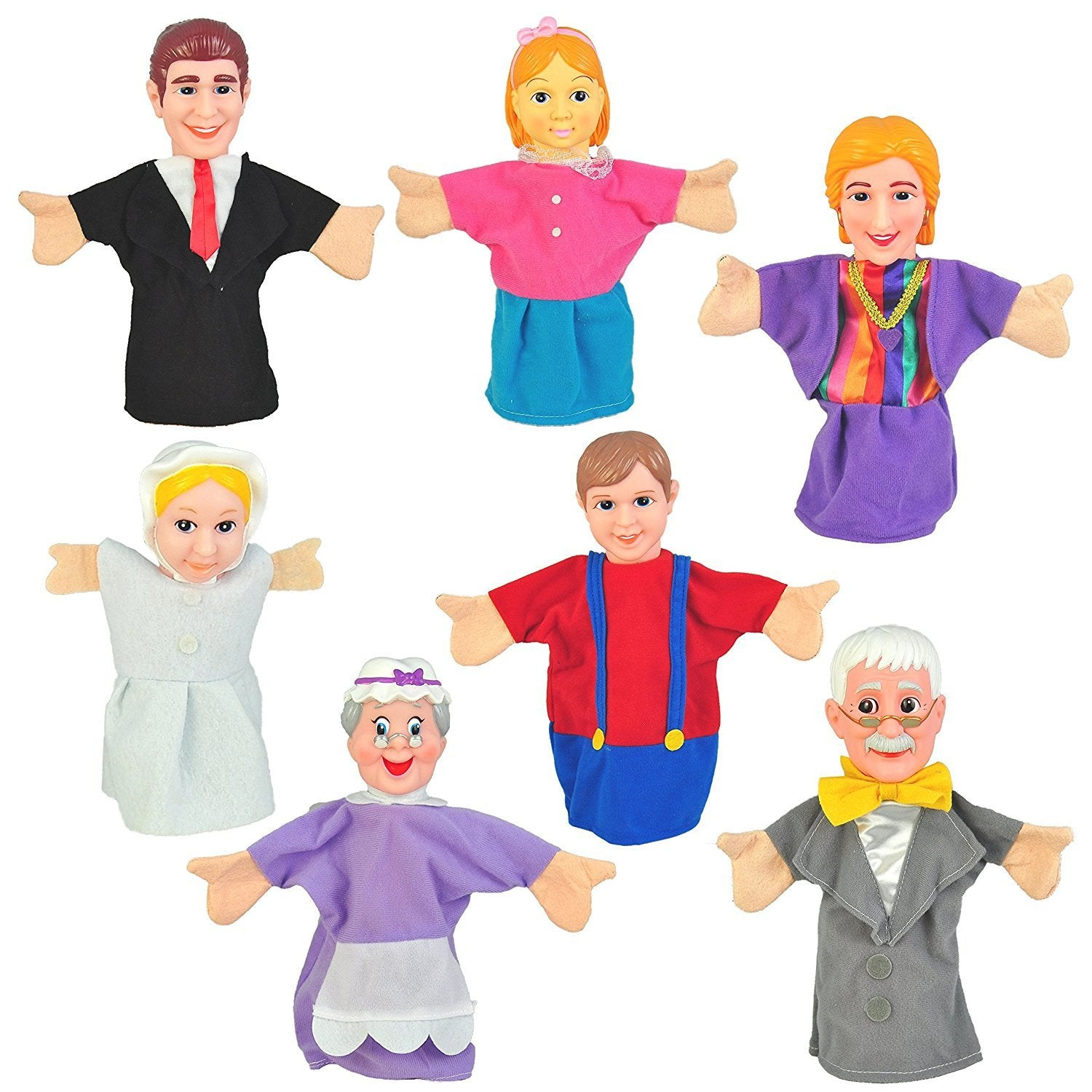 "Set of 7 Family Hand Puppets 10"" VINYL HEADS Parents, Kids, Baby and Grandparents"