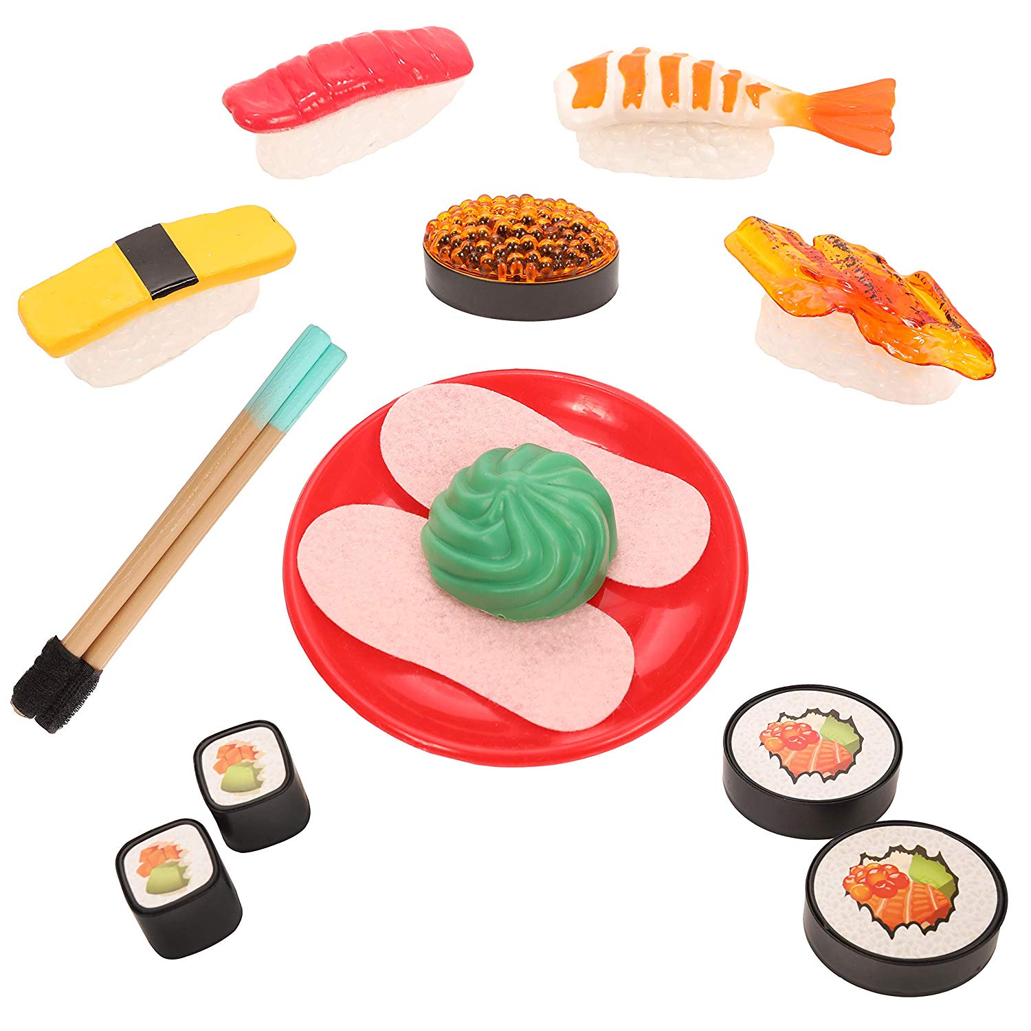 IQ Toys Pretend Play Sushi Playset in Japanese Bento Box; 21 Pieces