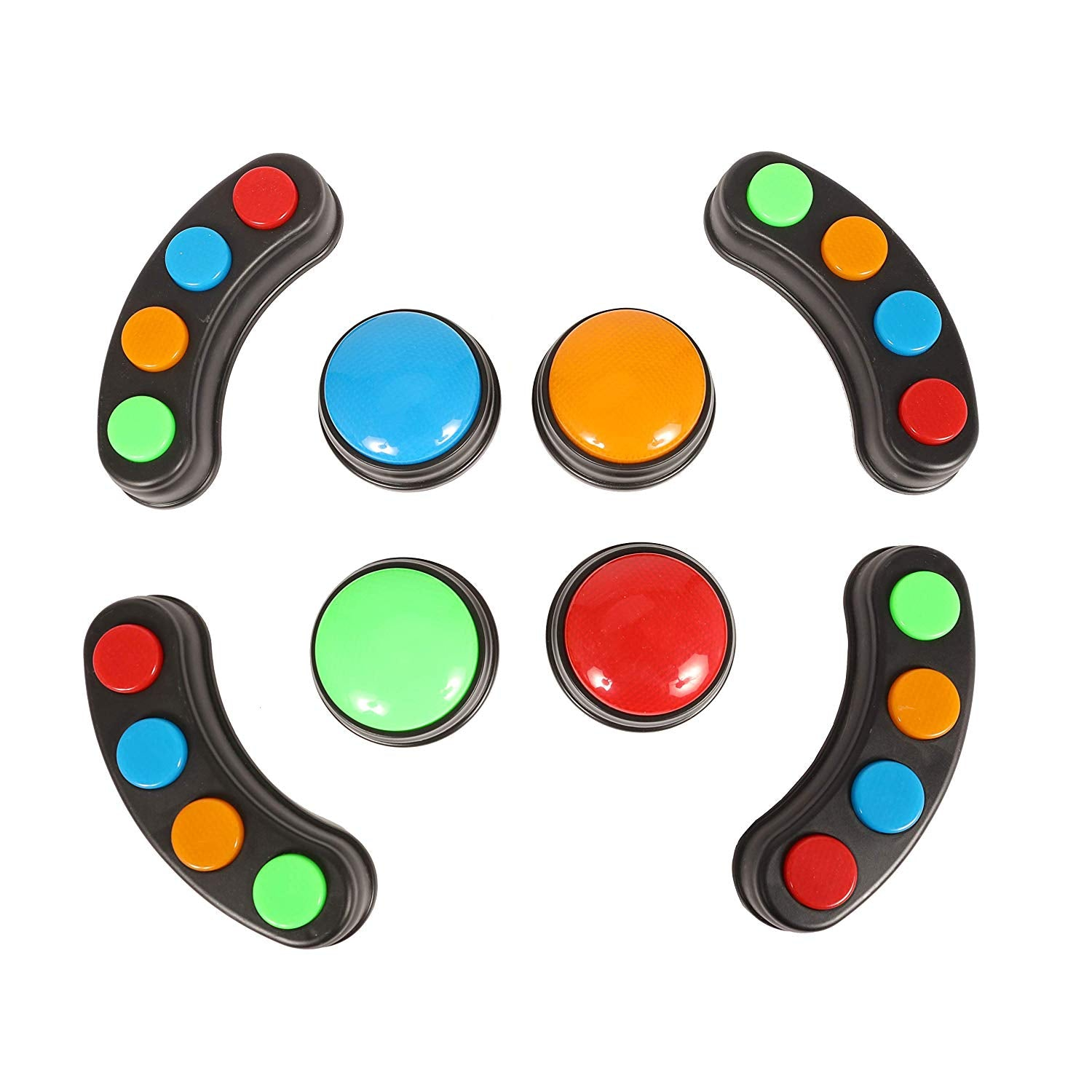 IQ Toys 8 Piece Signalight Set, Includes 4 Light Bars and 4 Individual Buzzers. Great for Games, Parties and Classrooms