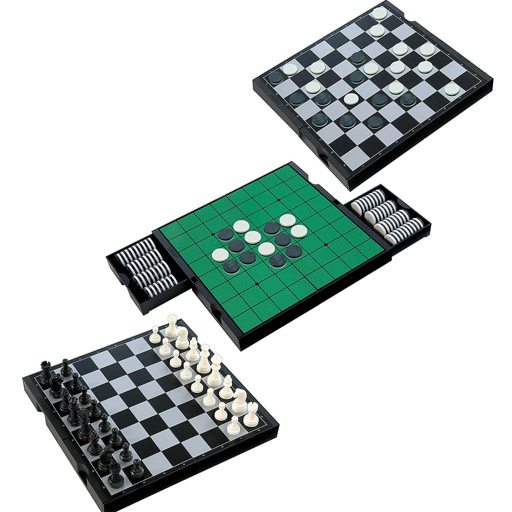 IQ Toys 3 in 1 Travel Magnetic Chess, Checkers and Reversi Set; with Foldable Board and Built in Storage Drawers