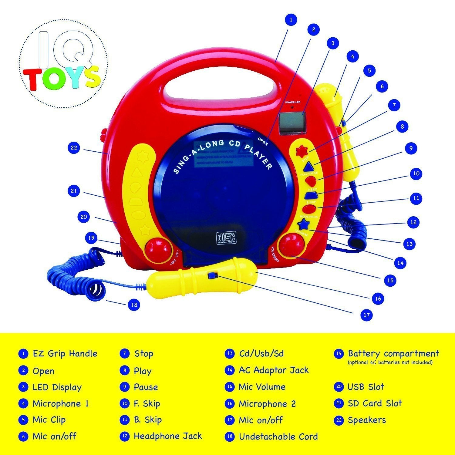 Portable Sing Along CD/MP3/USB/SD player Anti skip, with 2 Microphones & AC adapter - Toys 2 Discover - 2