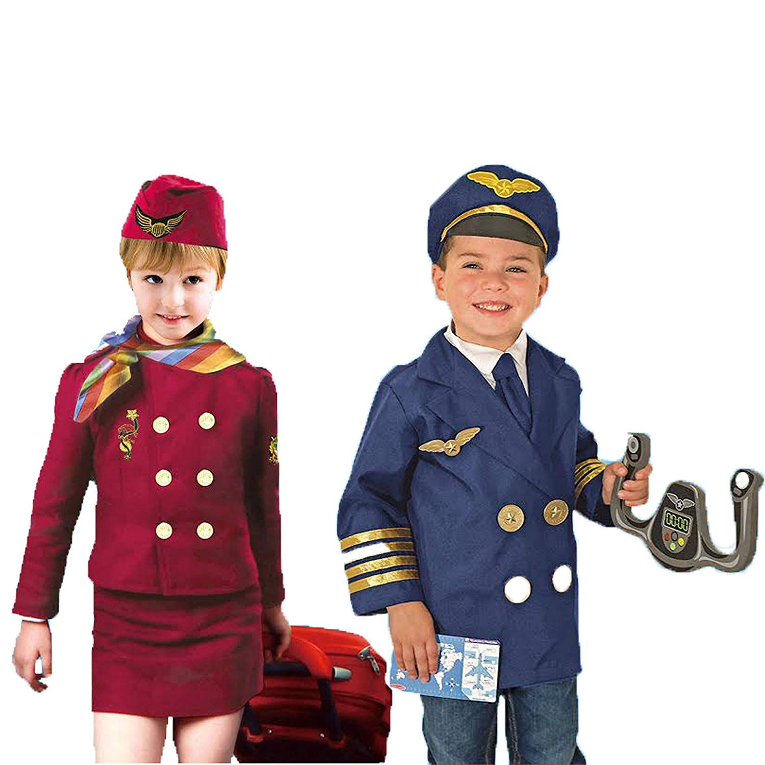 Set of 2 Dress up Costumes 1 Pilot 2 Flight Attendant, with hats and accessories