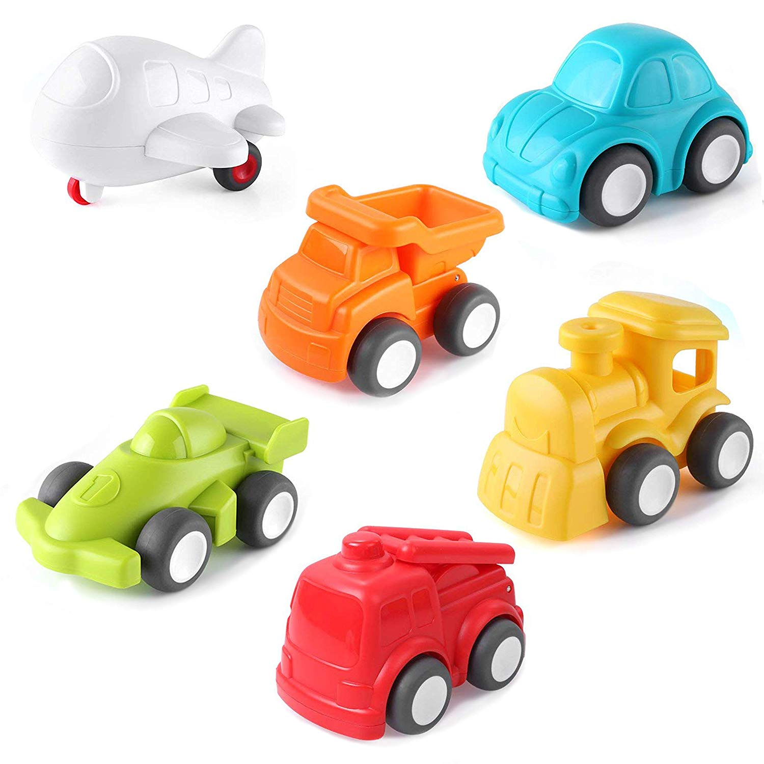 6 Pack City Vehicles- Baby Toy, with Dump Truck, Train, Fire Truck, Plane, Car and Racing Car
