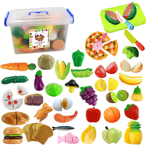 IQ Toys 40 Piece Complete Pretend Cutting Food Playset For Kids, Variety of 36 Food and 4 Cutting Accessories, Includes A Storage Container
