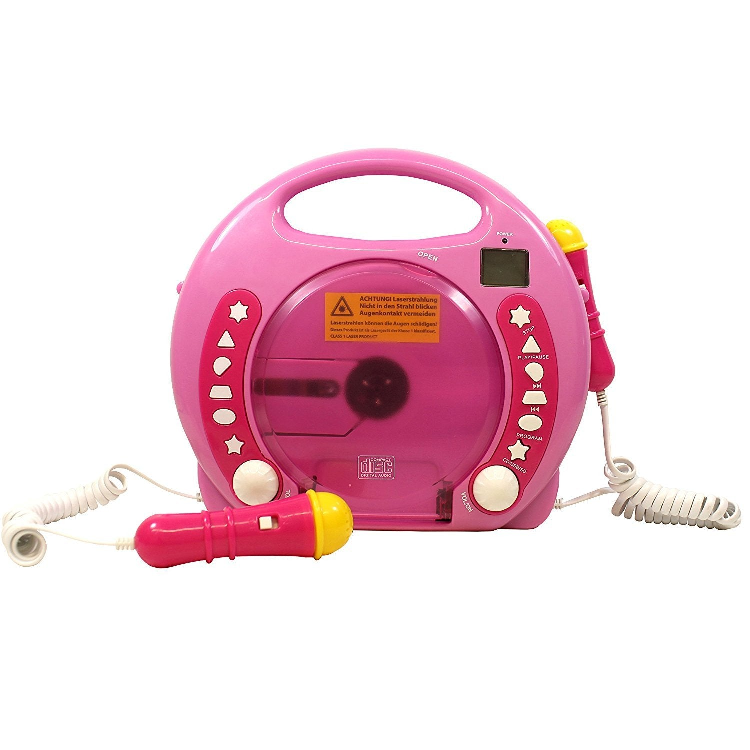 Portable Sing Along CD/USB/SD player Anti skip, with 2 Microphones & AC adapter ( Pink)