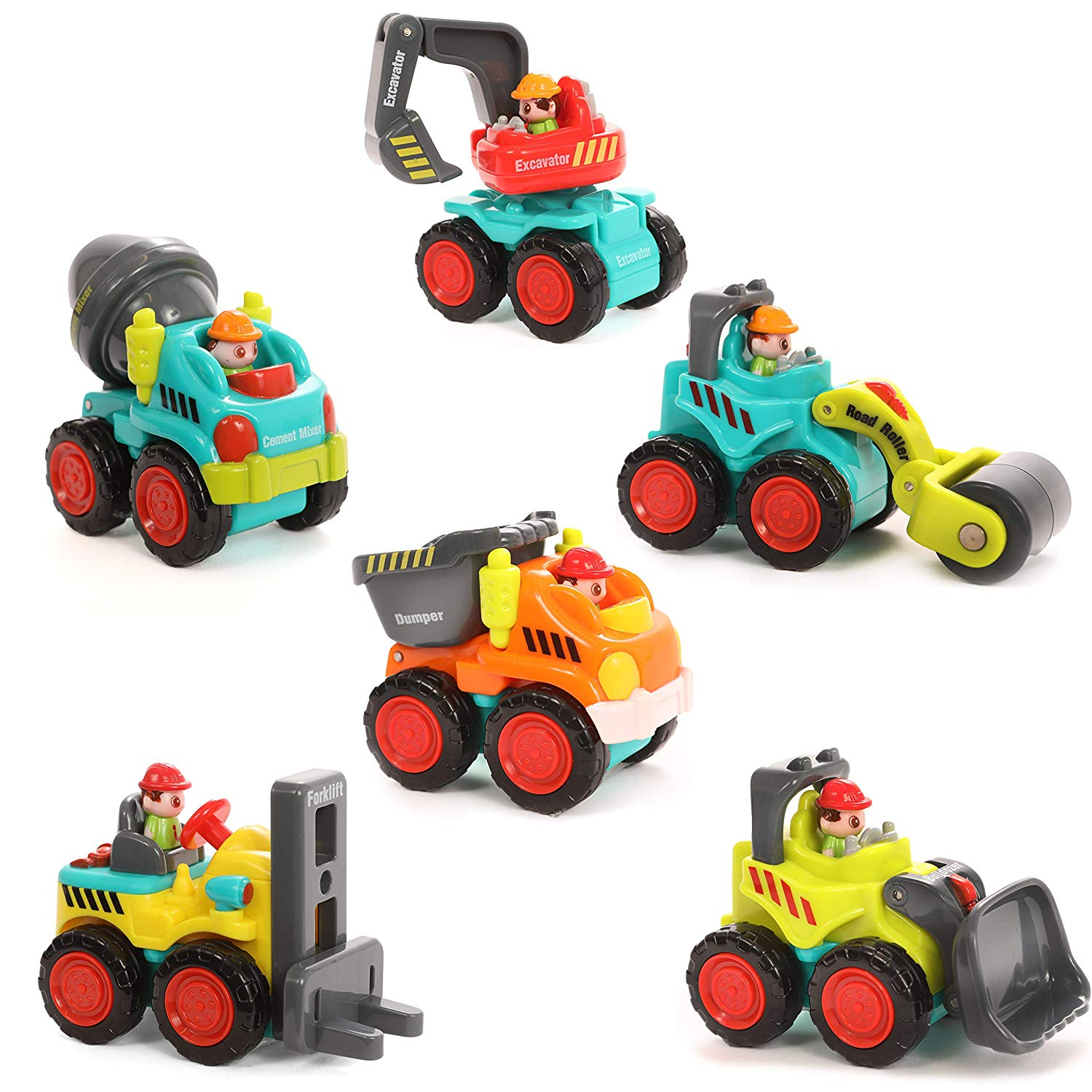 Set of 6 City Construction Vehicles, with a Bulldozer, Excavator, Dump Truck, Cement Truck, Forklift and Road Paver