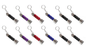 IQ Toys Set of 12 LED Flash Light Key Chains assorted Colors Batteries Included