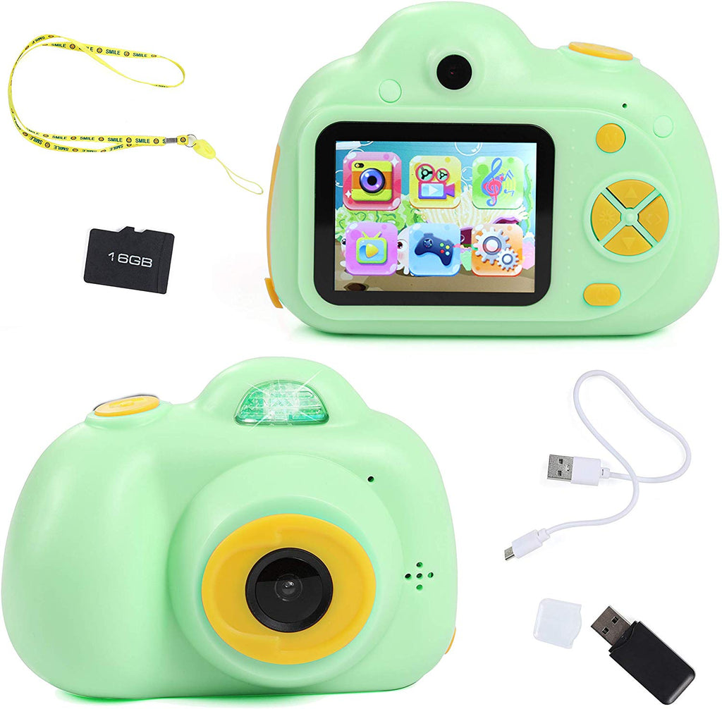 IQ Toy Digital Camera Gift for Kids- Takes Pictures, Videos, Records and Digital Image Playback. Mini Rechargable Camera Comes with USB Cable, 16 GB SD Card, and USB Card Reader Included