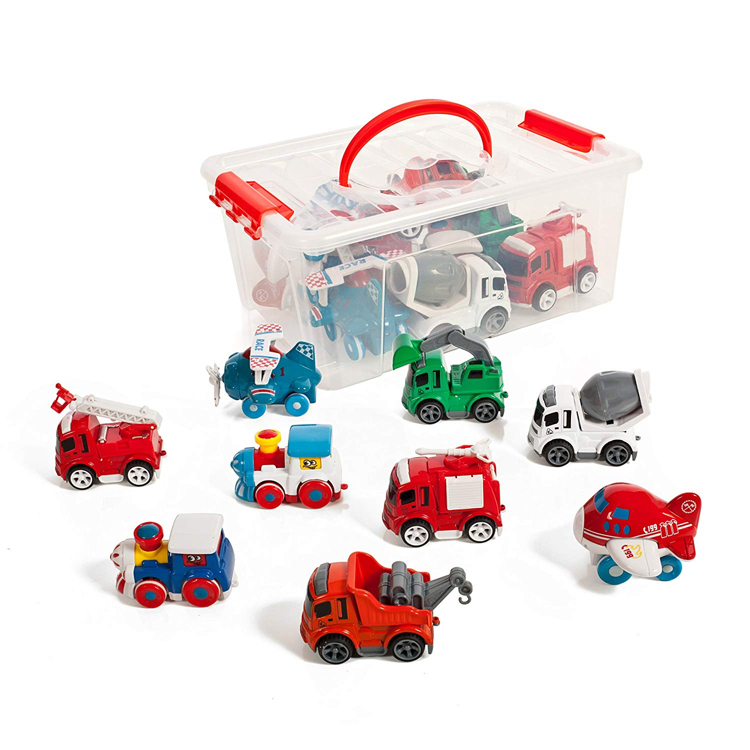 Set of 9 Friction powered Train Air Construction Fire Die cast vehicles in a storage container. by IQ Toys