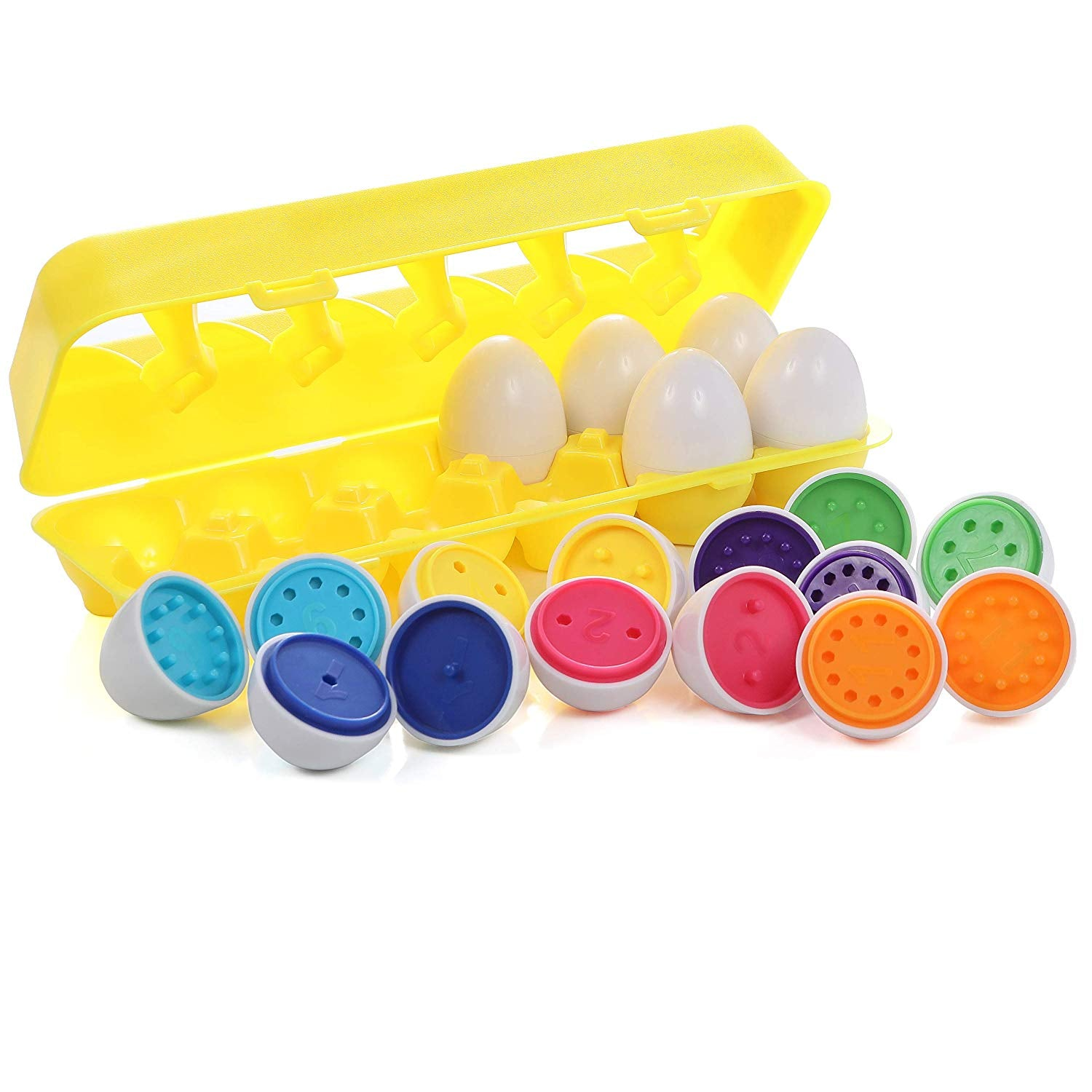 Toddler Match an Egg Toy, Set of 12 Color and Number Eggs