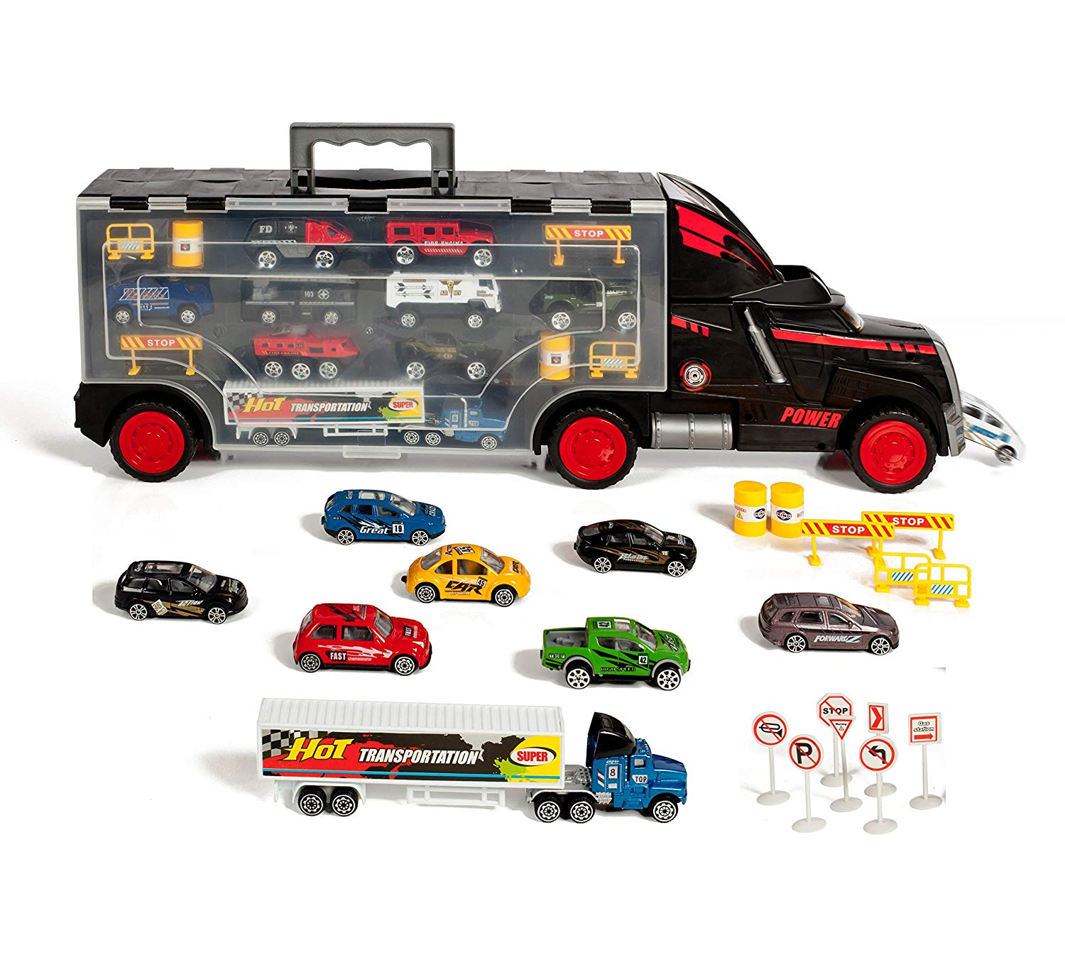 Thunder Wheels Car Carrier With 16 die cast Cars 2 Trailers & 19 accessories