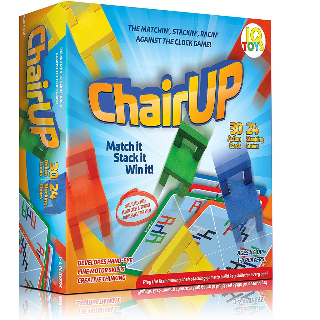 ChairUP! - The Matching, Stacking, Racing and Balancing - Family Game - Includes 24 Bright Colored Wooden Chairs; 1-4 Players