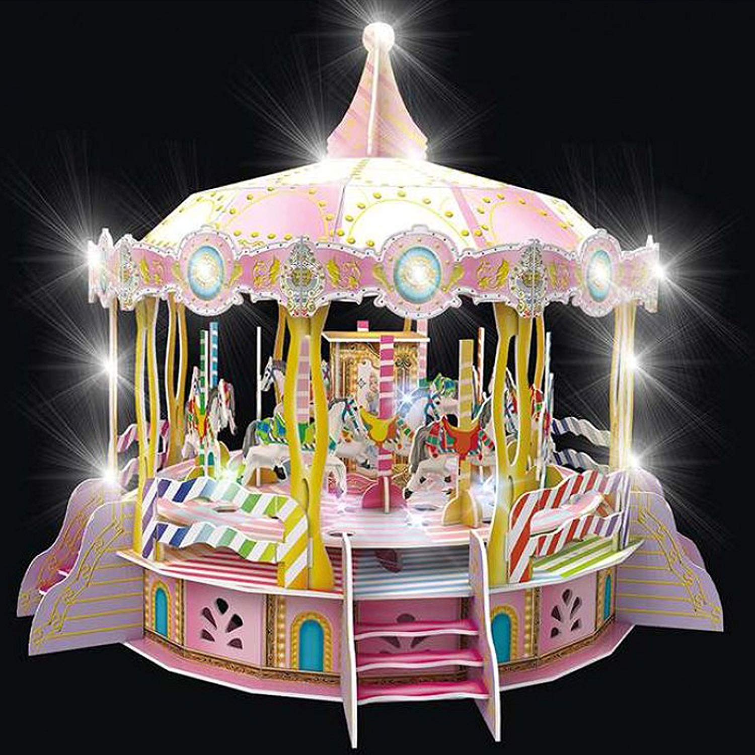 DIY 3D Merry Go Round Puzzle Carousel Model Rotates 360