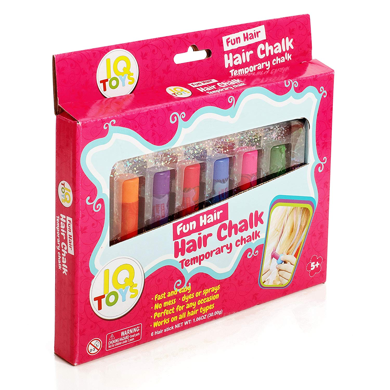 IQ Toys Vibrant Temporary Removable and Washable Hair Chalk for Girls