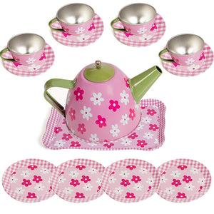 IQ Toys Tin Tea Set and Carry Case for Little Girls Pretend Tea Party in Bright Colors and Dainty Design