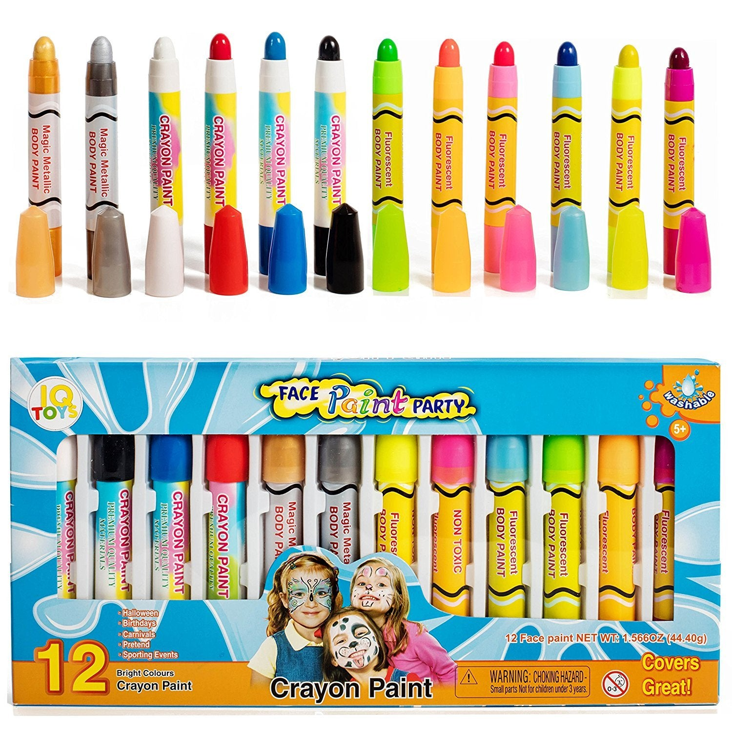 IQ Toys Face and Body Bright Color Paint 12 Piece Kit Twist-Up Makeup Sticks Washable and Safe