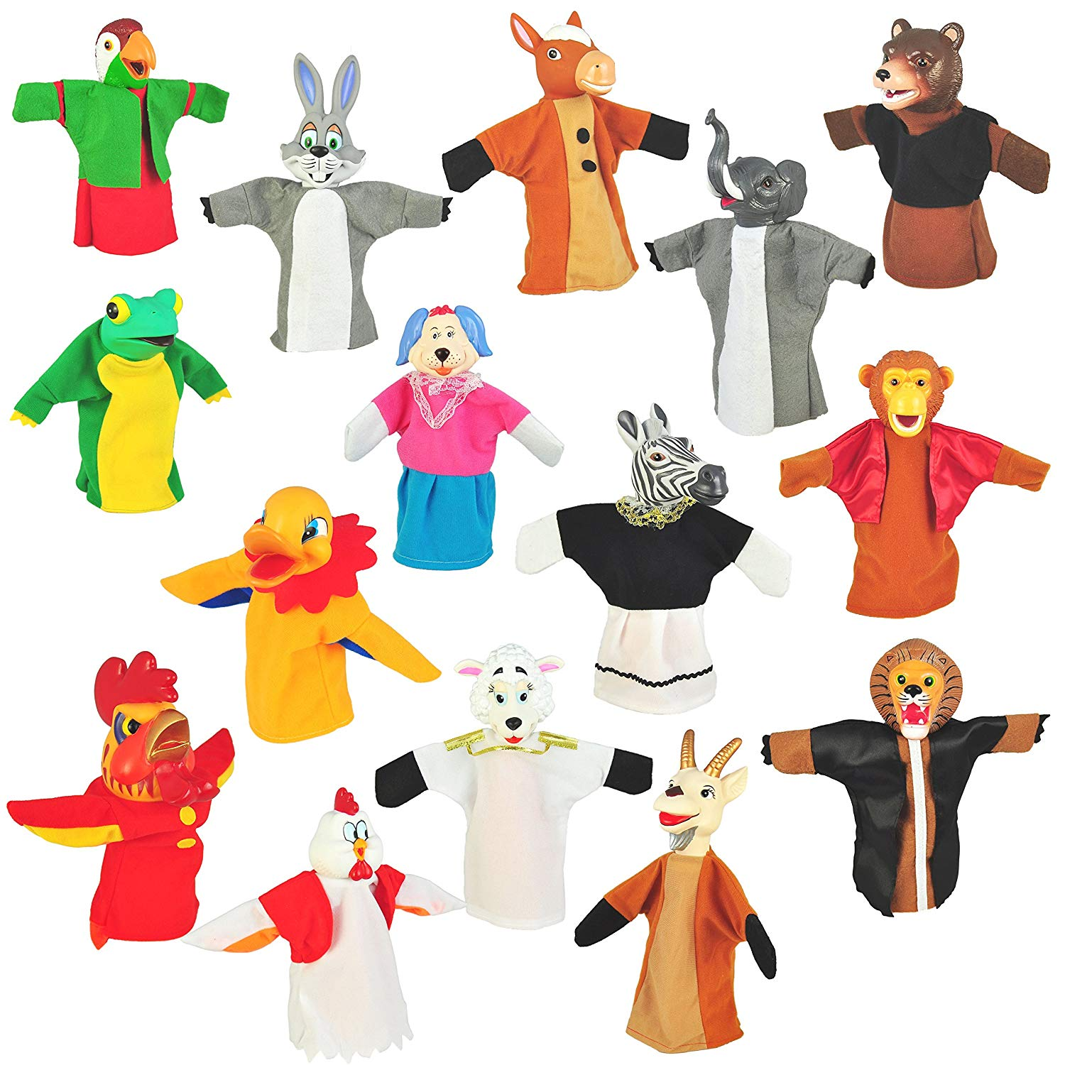 "Set of 15 Animal Hand Puppets 10"" VINYL HEADS Farm, Wild and Forest Mammals"