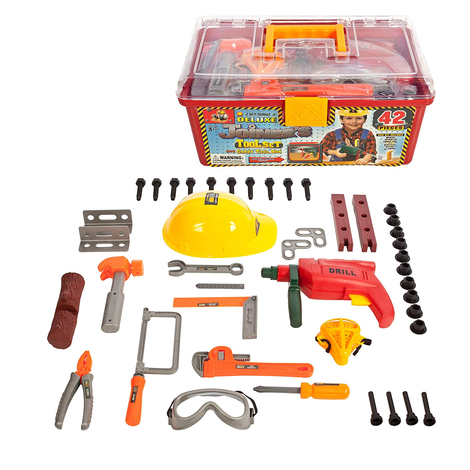 42 Piece Tool set in a Tool box with working drill & Helmet