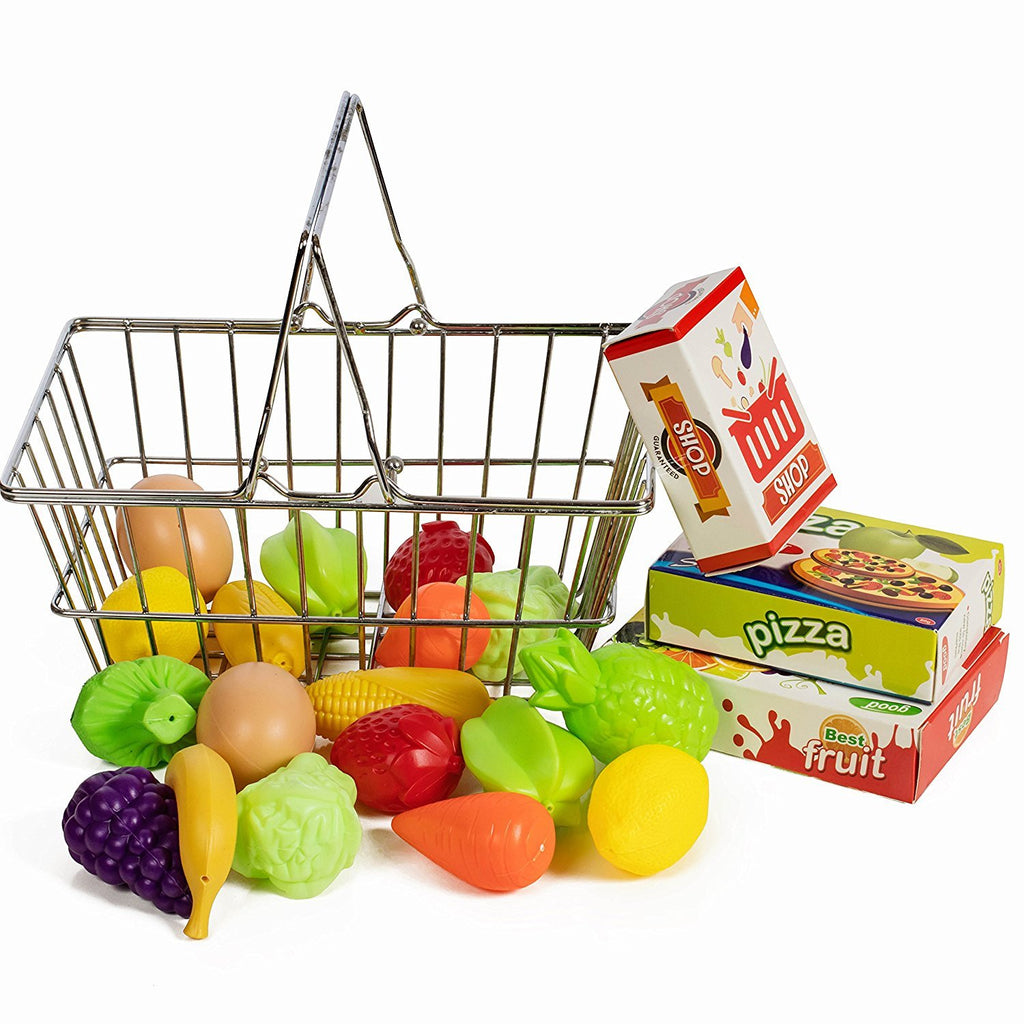 IQ Toys Stainless Steel Shopping Basket with Hard Plastic Play Food, 21 Piece Set
