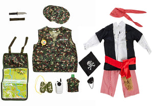 Set of 2 Costumes Soldier VS Pirate with over 10 accessories