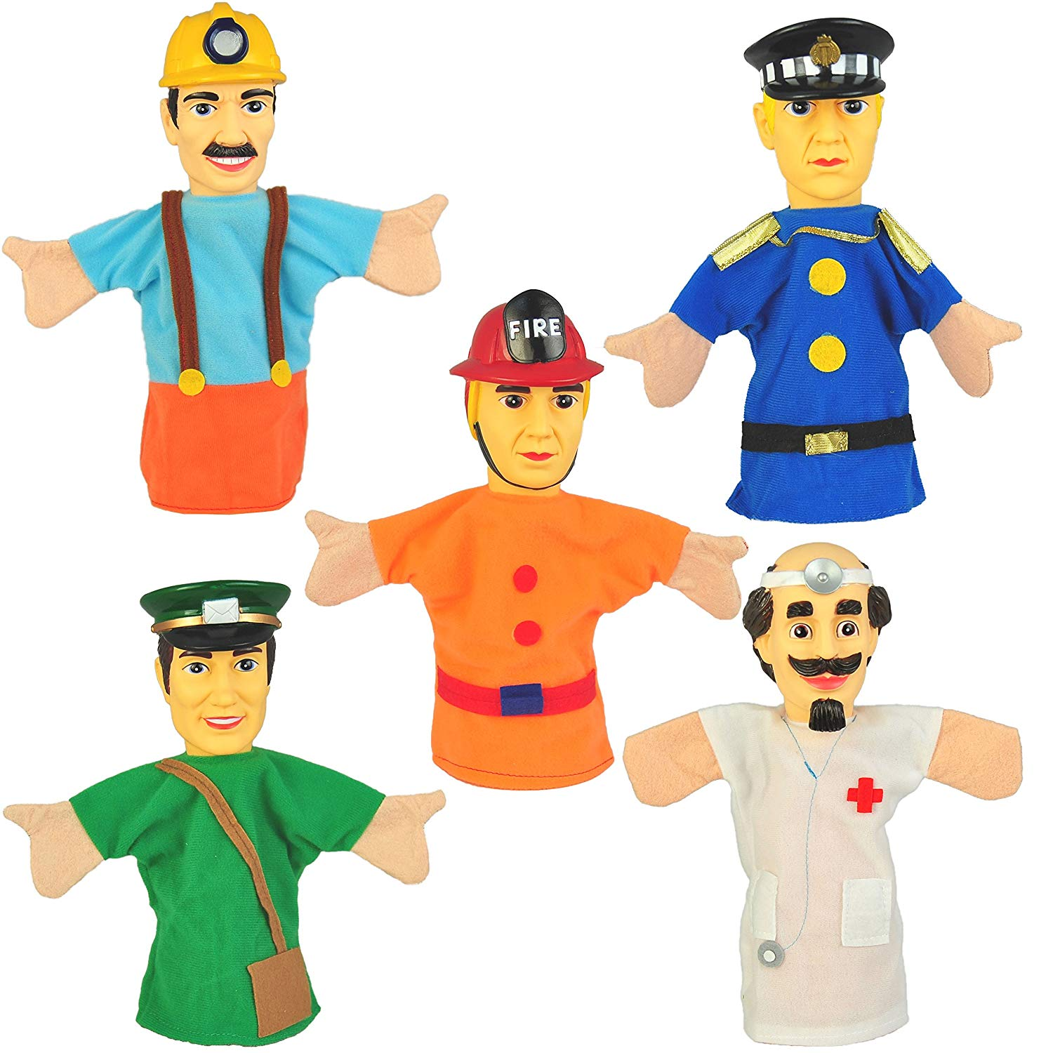 "Set of 5 Community Workers Hand Puppets 10"" VINYL HEADS"