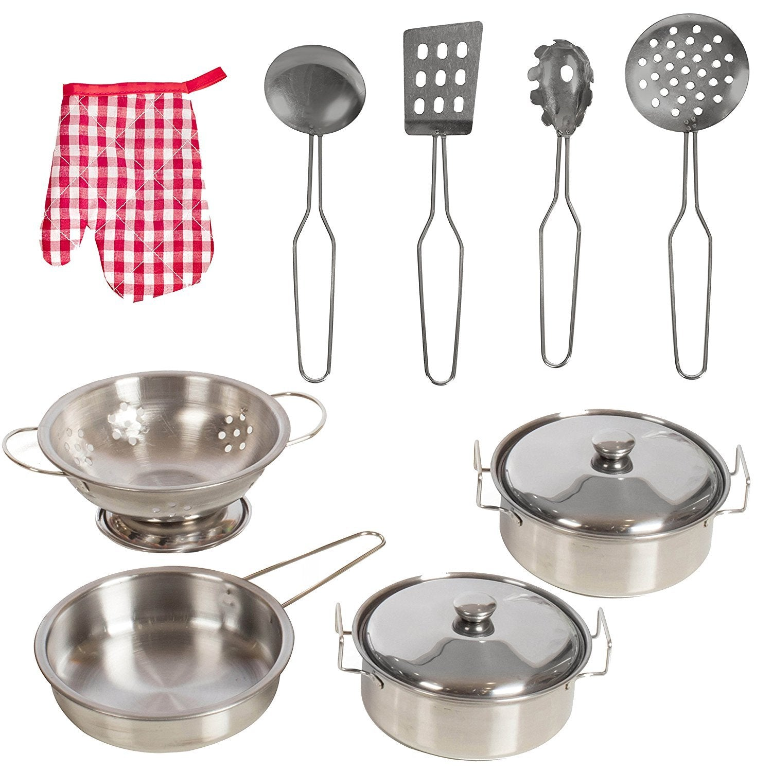 IQ Toys 11 Piece Pots and Utensil Set for Pretend Play