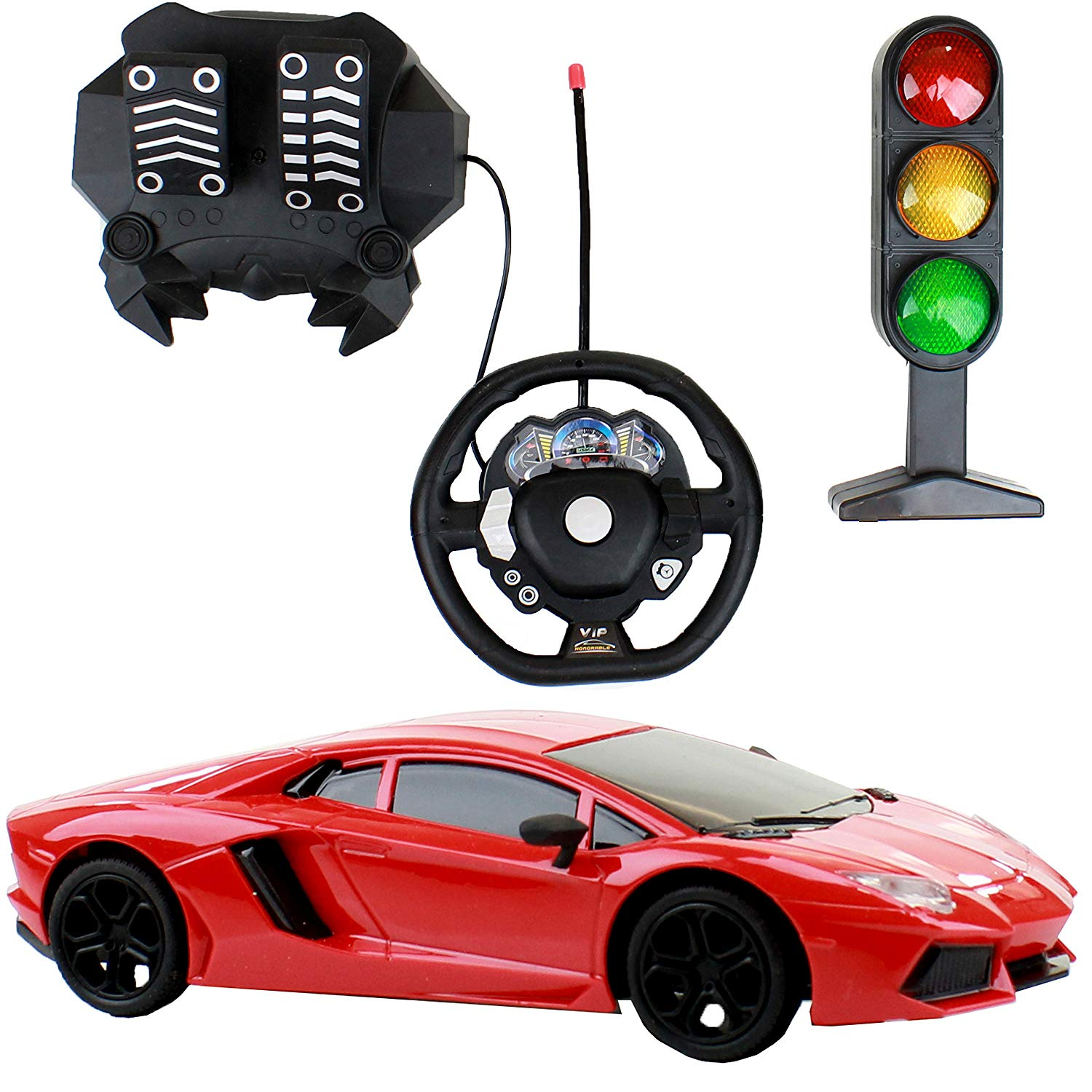 1:14 Remote Control Car with Foot Pedal and Traffic Light, Rechargeable Battery