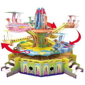 DIY 3D Airplane Ride Puzzle Amusement Park Model Rotates 360
