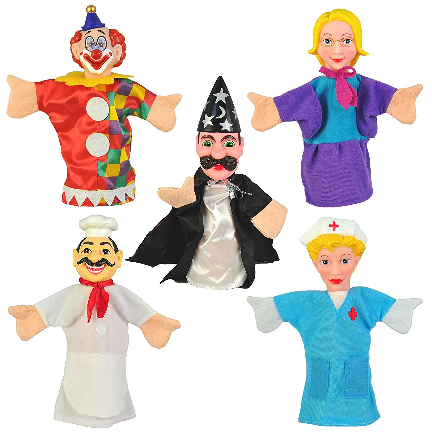 "Set of 10 Community Workers Hand Puppets 10"" VINYL HEADS"
