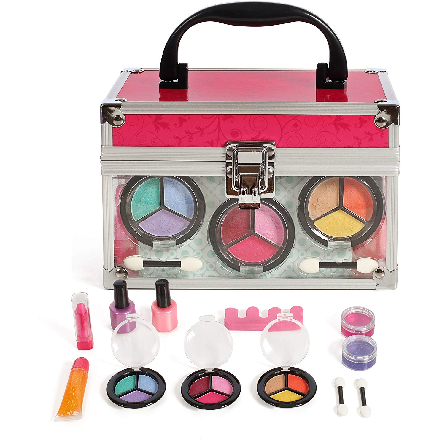 IQ Toys Girls Cosmetic Makeup Set in a Sturdy and Long Lasting Clear case, Mirror Included