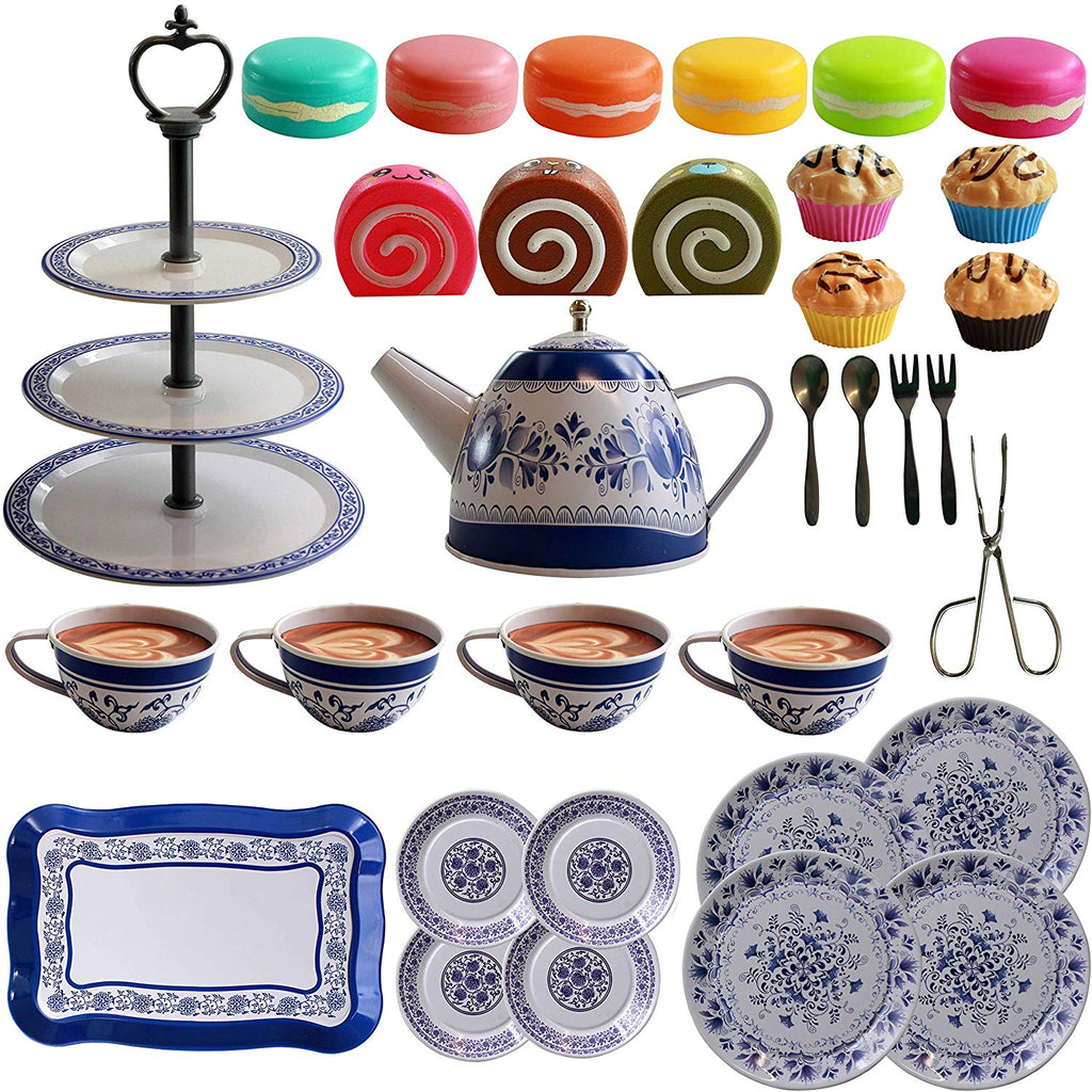 IQ Toys 39 Piece Tea and Cake Set for Pretend Tea Parties! Includes Full Tea and Pastry Set with Cake Stand