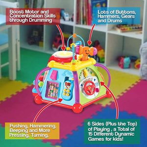 Educational Activity Center Cube with Lights and Sounds, 15 Skill Building Activities to Play