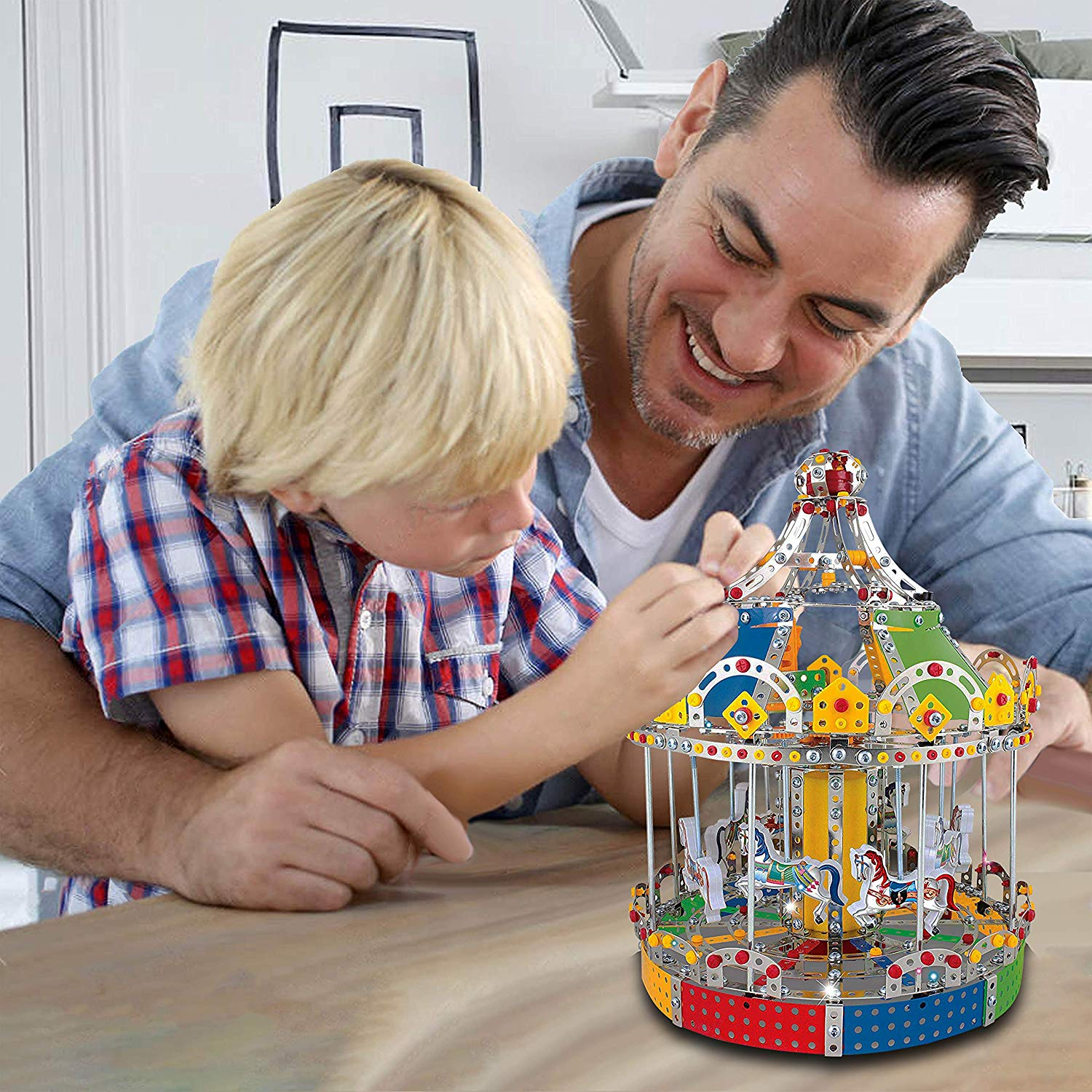 IQ Toys, Carousel Building Metal Model, Lights & Music 1423 pcs