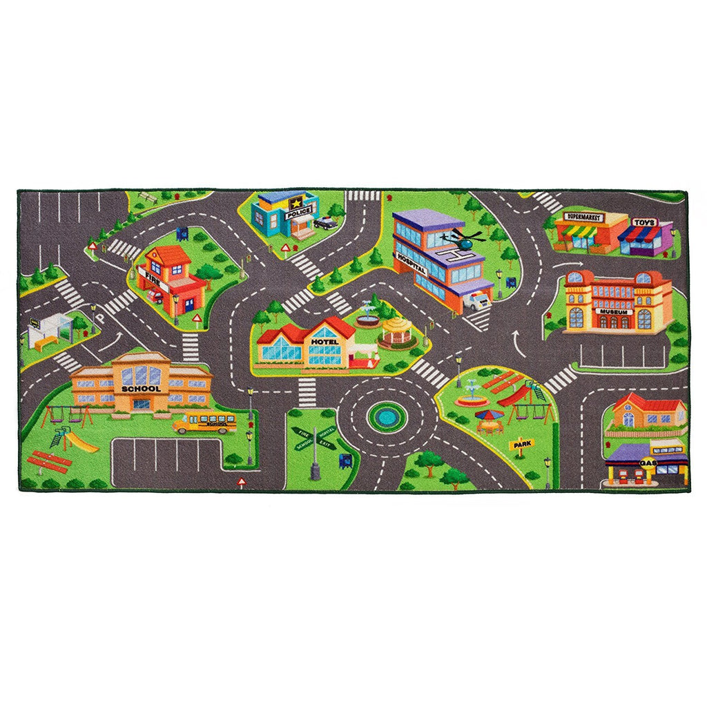 Community Play Rug for matchbox cars 36 X 72 Inches