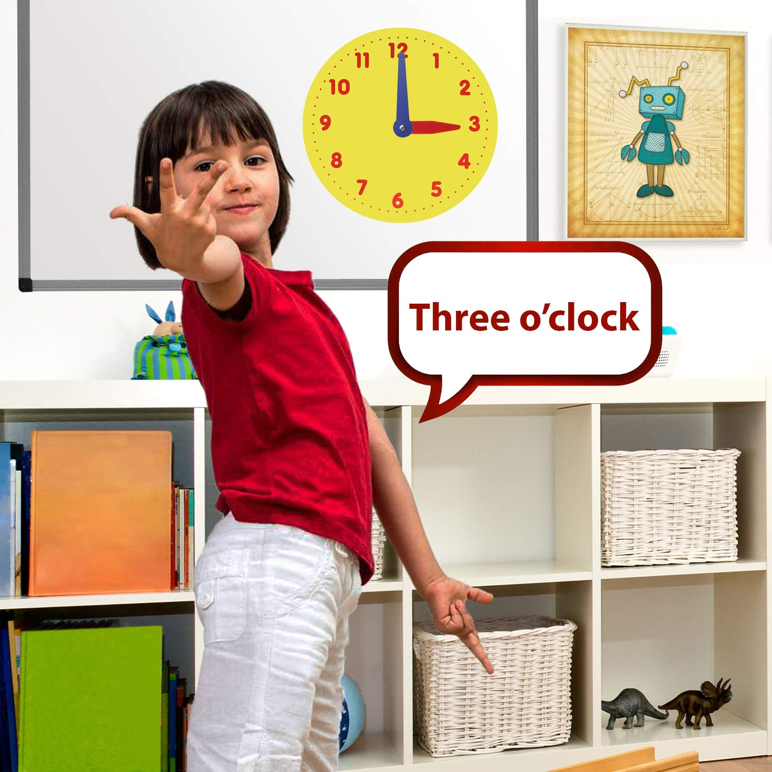 IQ Toys My First Learning Clock - Learn How to Tell Time, 12 inch Diameter Large Magnetic Educational Clock with Color Coded Hour and Minute Hands for Toddler Kids Girls and Boys