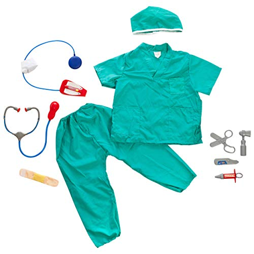 IQ Toys Doctor and Nurse Role Play Dress Up Costume Set Pretend Play for Kids Boys and Girls with 2 Sets of 7 Accessories Including Stethoscopes and Medical Kit Doctor's Equipment