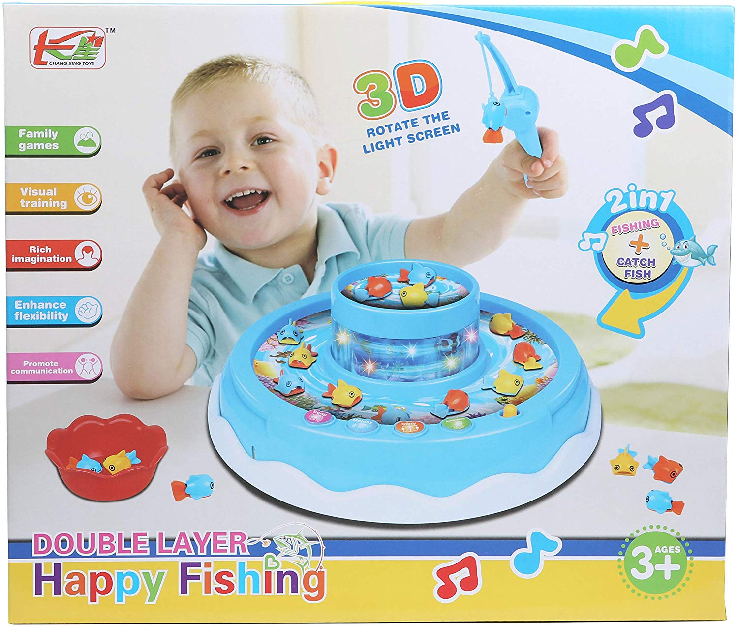 IQ Toys 22 Piece Lets Go Fishing Game with Rotating Fish, Lights, Music and Songs for Kids and Toddlers- 2 Fishing Rods and 18 Fish Included