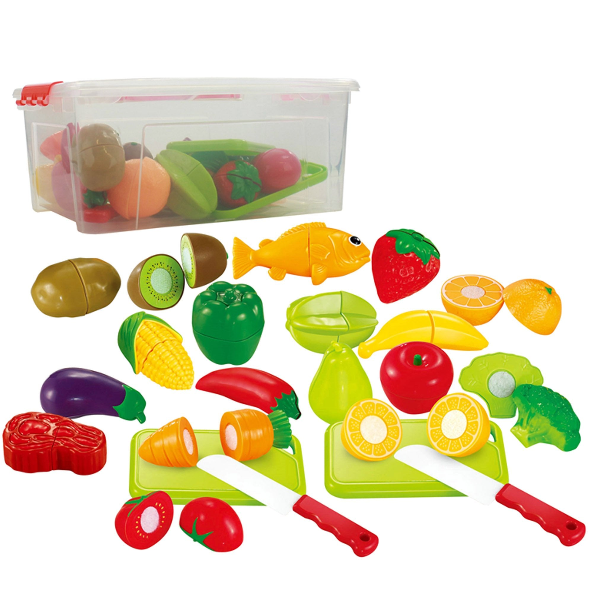 Pretend Food Playset For Kids, Fruits ,Vegetables, Poultry, Cutting Board, Knife And More! Set Includes A Storage Container (35 piece)