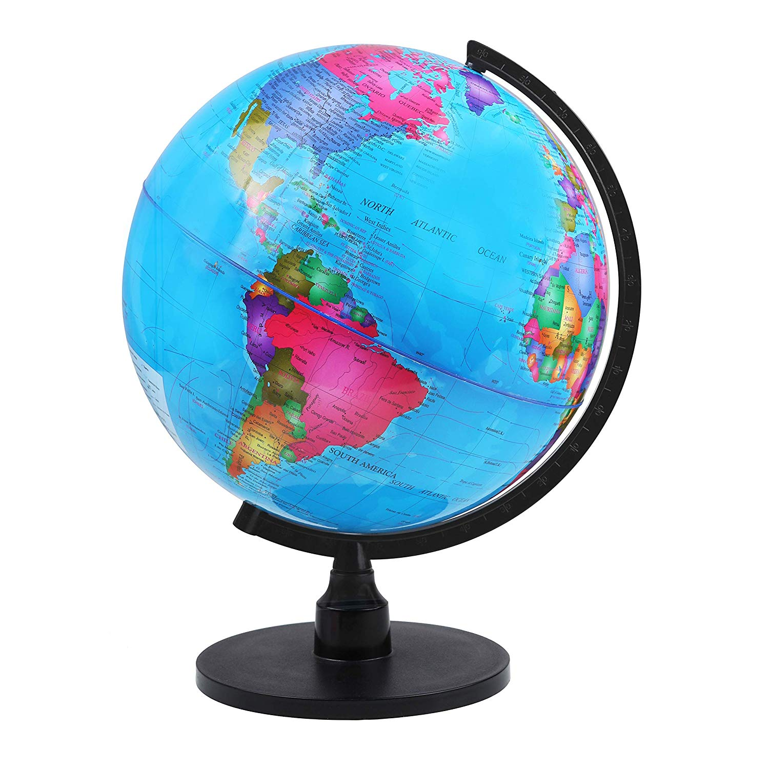 "IQ Toys 13"" Geographic Spinning World Globe with Stand, for Office Desks, Classrooms, Kids Geographic Learning"