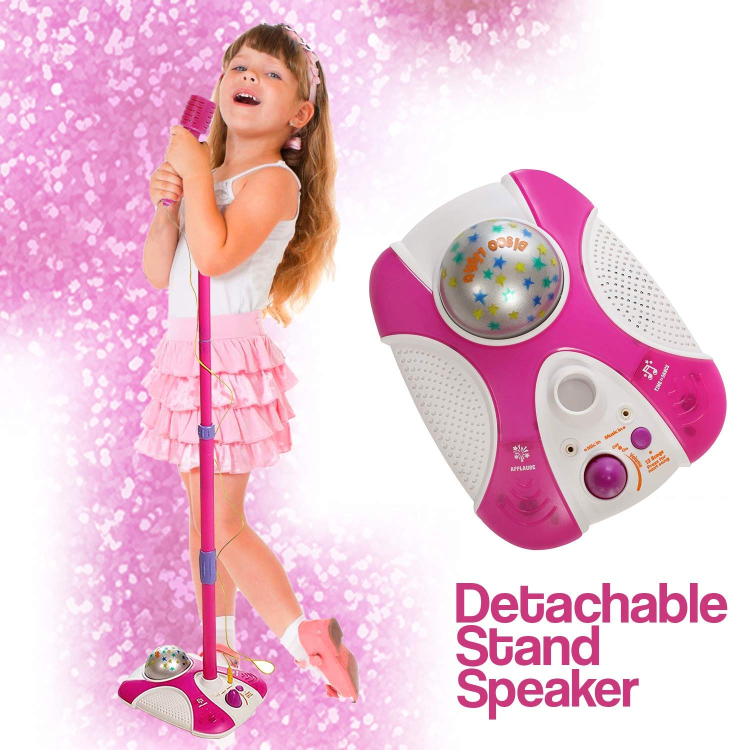 Karaoke Disco Light Adjustable Mic & Speaker Stand! Connects to iPods, Smartphones & MP3 Players. Includes 12 pre-Loaded Popular Songs (Pink)